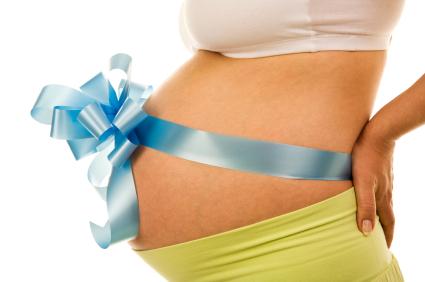 беременная - живот с бантиком